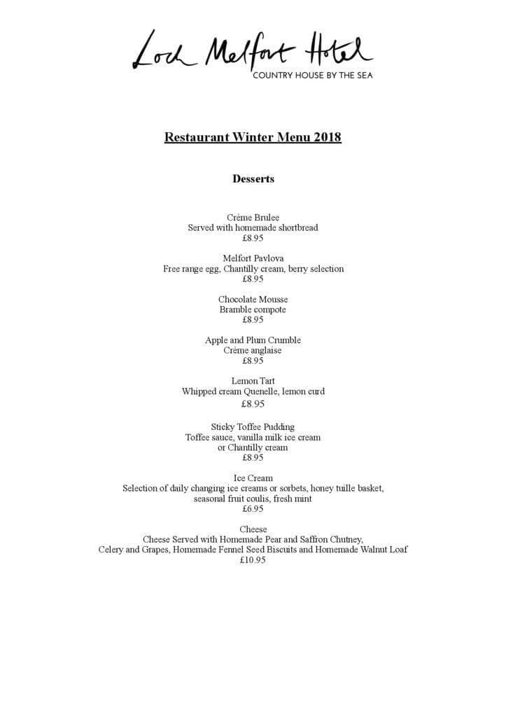 Loch Melfort Restaurant Menus