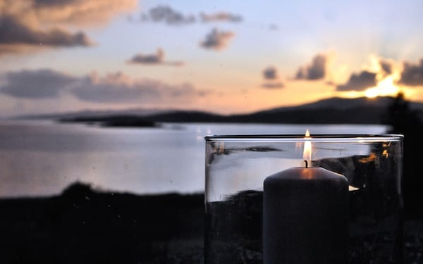 loch melfort hotel sunset view candle