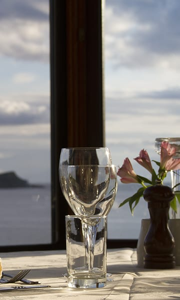 loch melfort oban hotel view wine glasses